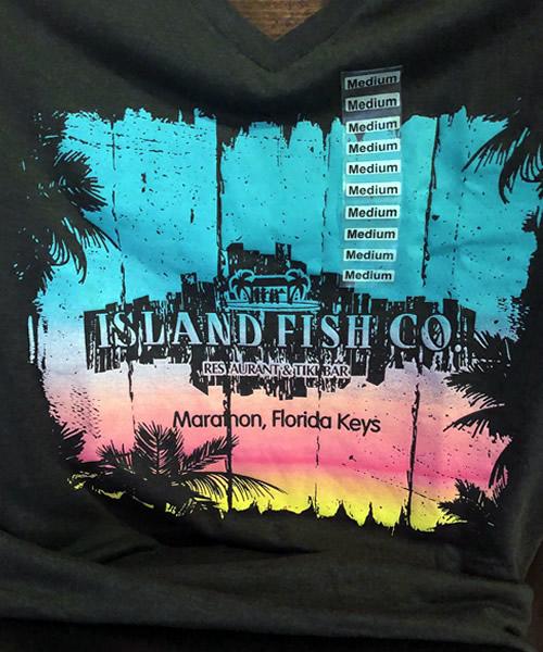 Island Fish Logo V Neck T Shirt